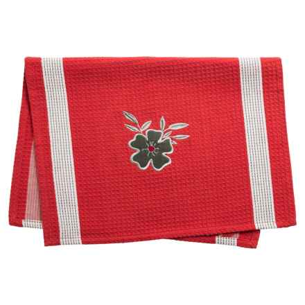 Tag Embroidered Waffle Weave Dish Towel in Red - Closeouts