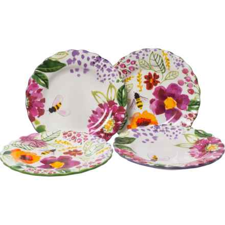 Tag Fresh Flowers Appetizer Plates - Set of 4 in Multi - Closeouts