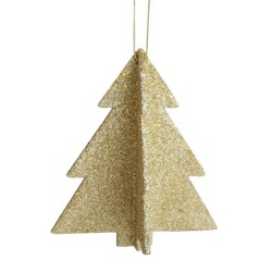 Tag Glittered Tree Ornaments - Set of 12 in Gold