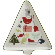 Tag Happy Holidays Tree-Shaped Platter in White - Closeouts