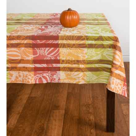 "Tag Harvest Jacquard Cotton Tablecloth - 60x60"" in Multi - Closeouts"
