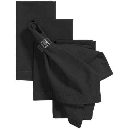 Tag Hemstitch Solid Cotton Napkins - 4-Pack in Black - Closeouts