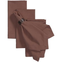Tag Hemstitch Solid Cotton Napkins - 4-Pack in Chocolate - Closeouts