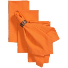 Tag Hemstitch Solid Cotton Napkins - 4-Pack in Orange - Closeouts