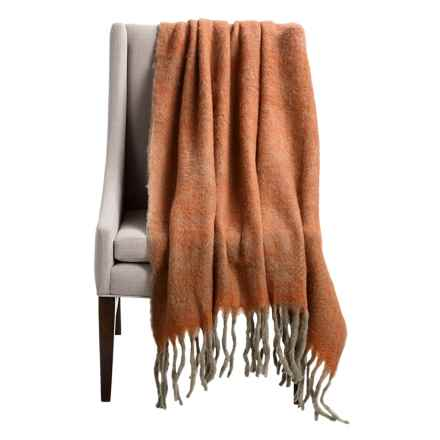 "Tag Herringbone Wool Fringe Throw Blanket - 50x60"" in Terracotta - Closeouts"