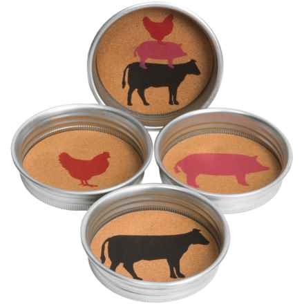 Tag Jar Lid Farm Animal Coasters - Set of 4 in Multi - Closeouts