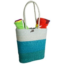 Tag Jumbo Wheat Grass Beach Tote Bag in Blue - Closeouts