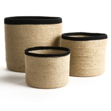 Tag Jute Storage Baskets - Set of 3 in Natural/Black - Closeouts