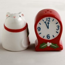Tag Mouse and Clock Mini Salt and Pepper Shakers in Red/White - Closeouts