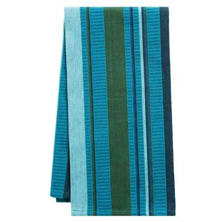 Tag Multi-Stripe Woven Dobby Dish Towel in Teal - Closeouts