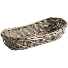 Tag Oval Braided Willow Bread Basket in Pale Grey - Closeouts