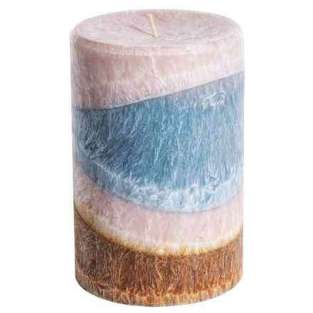 "Tag Pillar Candle - 4x6"" in Layered Blue/White - Closeouts"