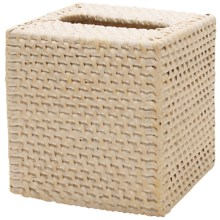 Tag Rattan Tissue Box Cover in White - Closeouts