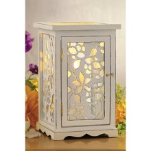 Tag Spring Floral Wooden Lantern in White - Closeouts