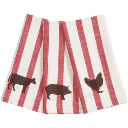 Tag Striped Farm to Table Cloth Napkins - Set of 3 in Red - Closeouts