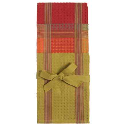 Tag Textured Checks and Stripes Dish Towels - Set of 3 in Green/Red - Closeouts