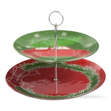 "Tag Two-Tier Vintage Christmas Stand - 8-1/2"" in Red/Green - Closeouts"
