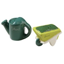 Tag Whimsical Mini Salt and Pepper Shakers - Ceramic in Watering Can/Wheelbarrow - Closeouts