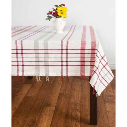"Tag Woodland Check Tablecloth - 84x60"", Cotton-Linen in Multi - Closeouts"