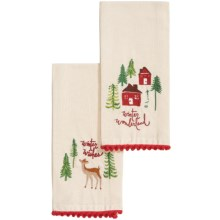 Tag Woodland Embroidered Guest Towels - 2-Pack in Red/Green - Closeouts