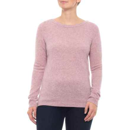 Tahari 100% Cashmere Sweater - Boat Neck  (For Women) in Iris Heather - Closeouts