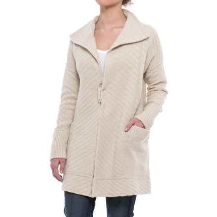Tahari Allover Texture Open Cardigan Sweater - Lambswool Blend (For Women) in Pumice - Closeouts