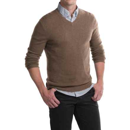 Tahari Basic V-Neck Cashmere Sweater (For Men) in Desert - Closeouts
