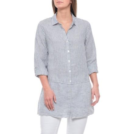 47352aca627 Tahari Blue Combo Yarn-Dyed Linen Shirt - Long Sleeve (For Women) in