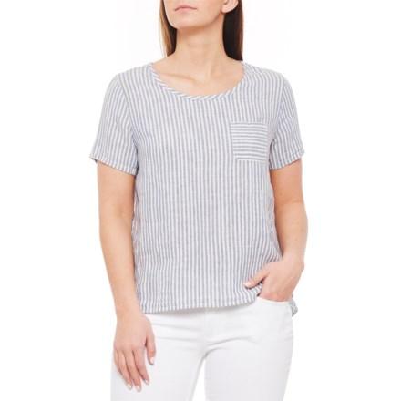 0eb61049471a1 Tahari Blue Combo Yarn-Dyed Stripe Linen Shirt - Scoop Neck