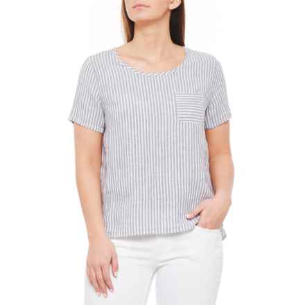 6106c0d19e Tahari Blue Combo Yarn-Dyed Stripe Linen Shirt - Scoop Neck