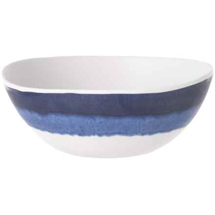 Tahari Blue Tide Drip-Glaze Melamine Salad Bowl in Blue/White - Overstock