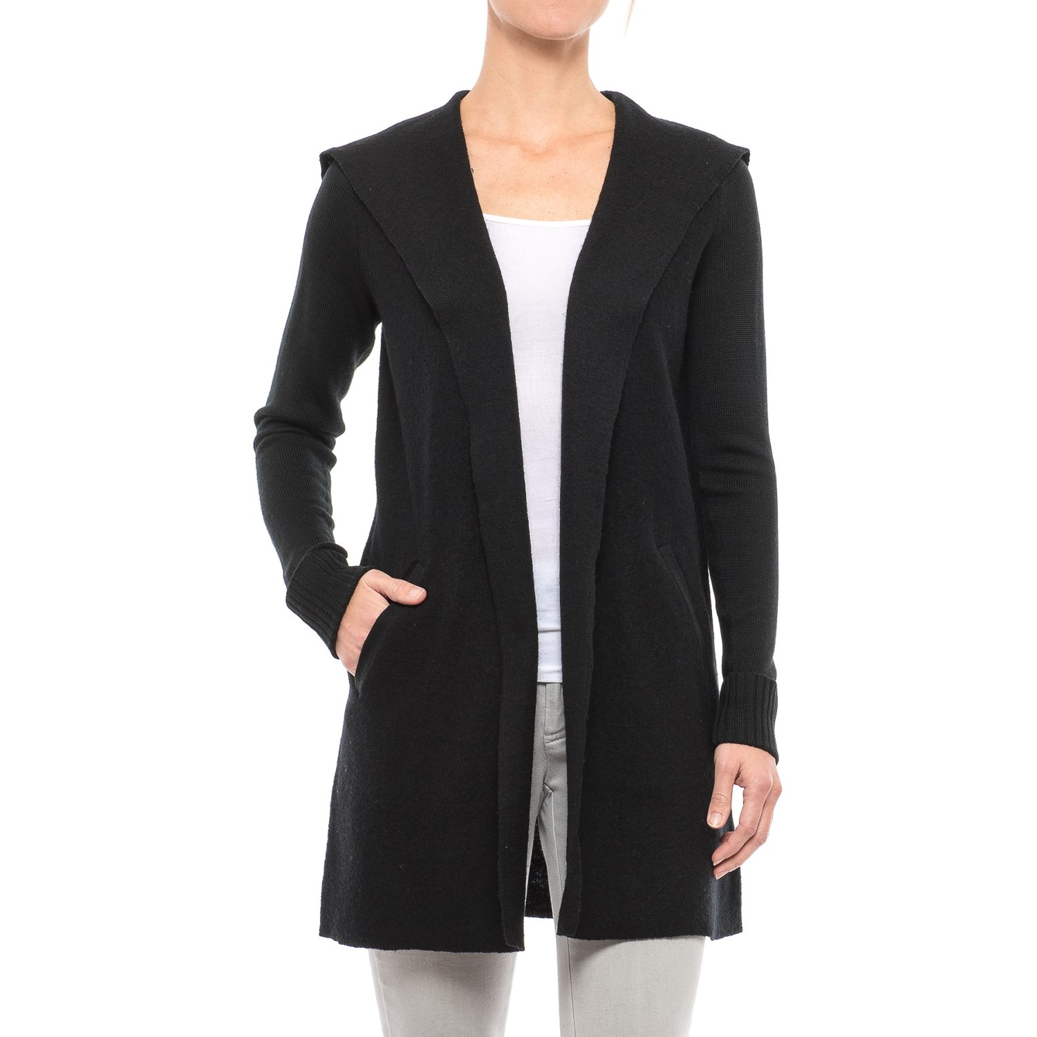 Tahari Boiled Wool Funnel Neck Cardigan Sweater (For Women) - Save 50%