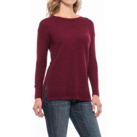 Tahari Button-Back Sweater - Merino Wool (For Women) in Bordeaux Solid - Closeouts