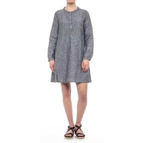 Tahari Button-Front Linen Dress - Long Sleeve (For Women) in Black/White