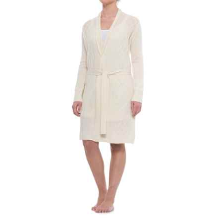 Tahari Cable-Knit Cashmere Robe - Long Sleeve (For Women) in Sweet Vanilla - Closeouts