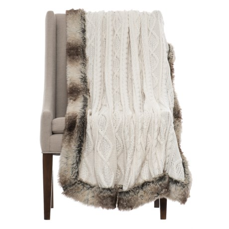 """Tahari Cable-Knit Throw Blanket - 50x60"""", Faux-Fur Trim in Ivory"""