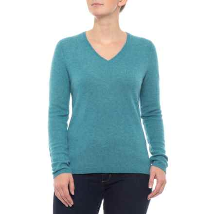 Tahari Cashmere Sweater - V-Neck, Long Sleeve (For Women) in Baltic Heather - Closeouts