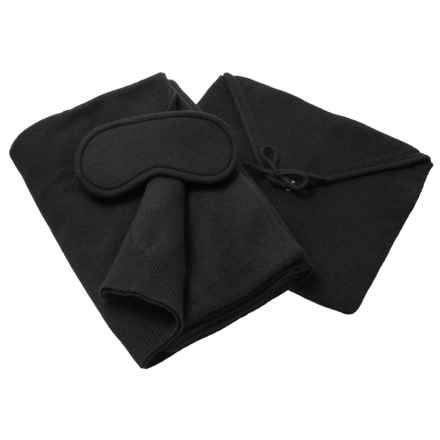 Tahari Cashmere Travel Blanket, Eye Mask and Pouch Set - Boxed Gift Set (For Women) in Black - Closeouts