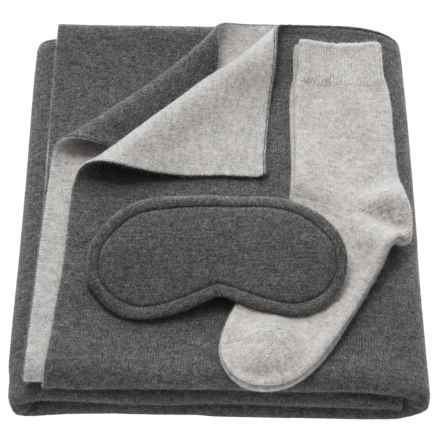 Tahari Cashmere Travel Blanket, Eye Mask and Socks Set - Boxed Gift Set (For Women) in Smog Heather/True Flint Heather - Closeouts