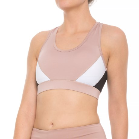 Tahari Charlotte Sports Bra - Padded Cups, Medium Impact (For Women) in Black/Pink/White