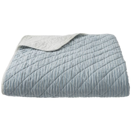 Tahari Coastal Pinstripe Quilt - Full-Queen in Blue White