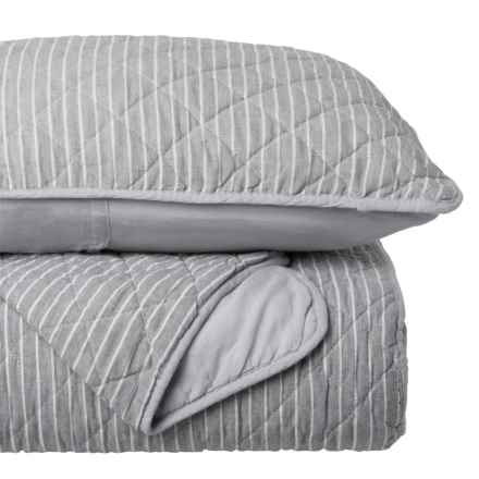 Tahari Coastal Pinstripe Quilt Set - Full-Queen in Grey White - Closeouts