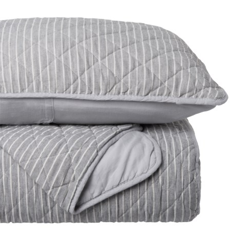 Tahari Coastal Pinstripe Quilt Set - Full-Queen in Grey White