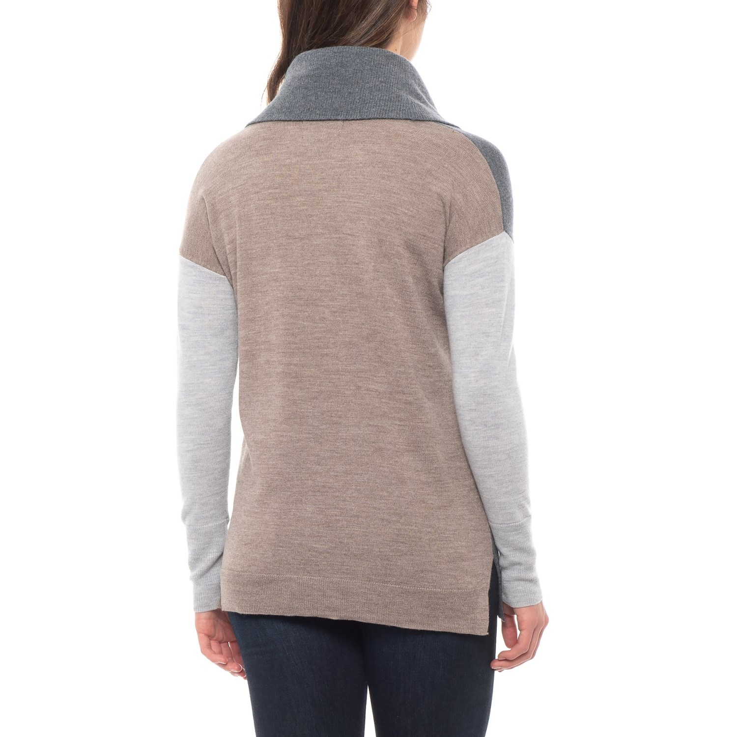 b4c75fe64e Tahari Color-Blocked Tunic Sweater - Merino Wool (For Women)