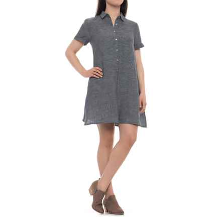 Tahari Cross-Dye A-Line Linen Dress - Short Sleeve (For Women) in Black/White - Closeouts