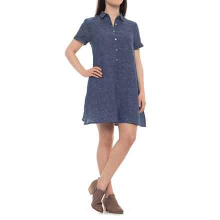 Tahari Cross-Dye A-Line Linen Dress - Short Sleeve (For Women) in Indigo/White - Closeouts
