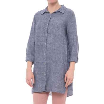Tahari Cross-Dyed Linen Tunic Shirt - Long Sleeve (For Women) in Indigo - Closeouts