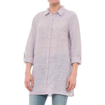 Tahari Cross-Dyed Linen Tunic Shirt - Long Sleeve (For Women) in Smokeshow - Closeouts