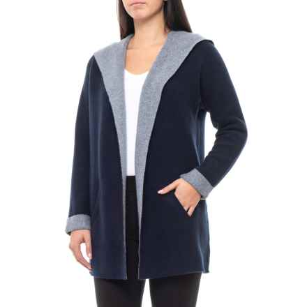 Tahari Double-Knit Hooded Cardigan Sweater - Cashmere (For Women) in Midnight Navy/Grey Blue Heather - Closeouts