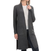 Tahari Drape Neck Maxi Cardigan Sweater (For Women) in Charcoal Heather - Closeouts